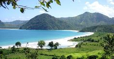 Kuta Beach in Lombok, with white sand beaches and historic hill