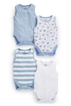 Buy Four Pack Blue Short Sleeve Bodies (0mths-3yrs) from the Next UK online shop