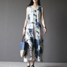 Lost Memory-off white linen sundress sleeveless long summer dresses