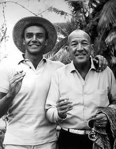 Sean Connery and Noel Coward in a behind the scenes photo from Dr. No