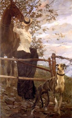Ettore Tito, L'amazzone, 1906, olio su tela, 107 x 127 cm. Genova, Raccolte Frugone.