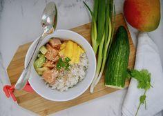 Poke bowl à l'hawaïenne Sauce Teriyaki, Menu, Poke Bowl, Risotto, Ethnic Recipes, Food, Cilantro, Cucumber, Essen