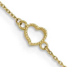 14K Yellow Gold 10 Inch Textured Hollow Heart Charm Ankle Bracelet