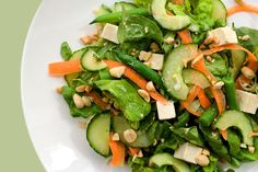 Crunchy cucumber, tender butter lettuce, and chilled cubes of tofu star in this Asian-inspired salad.