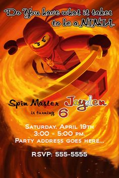 Ninjago Invitation - Printable Ninjago Birthday Party Invitation - Customizable-4
