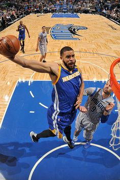 JaVale McGee of the Golden State Warriors goes up for a dunk against the Orlando Magic on January 22 2017 at Amway Center in Orlando Florida NOTE TO...