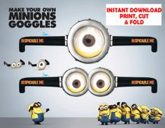 INSTANT DOWNLOAD Despicable Me 2 Minion Goggles Printable - Despicable Me Birthday Party Favors