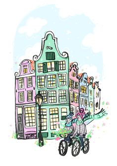 Amsterdam cyclists A4 print