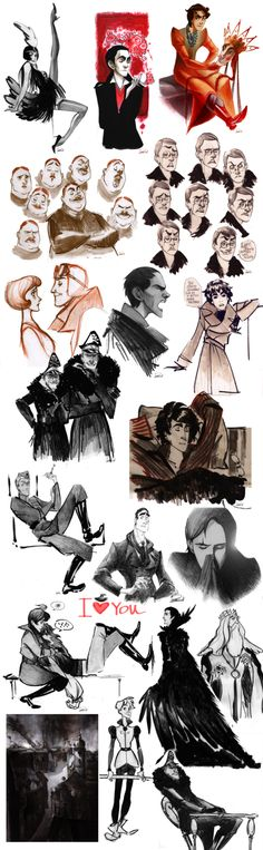 Another part of my moleskine sketches )) Now working on costumes for my males. Don't watch on years, mostly they are conditional - men clothes much more classic then women and didn't change so fast...