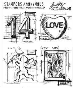 Stampers Anonymous Tim Holtz new stamps valentine blueprint