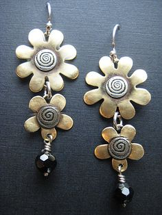 Flower Earrings Flower Dangle Earrings Mixed by riverpathstudio, $42.00