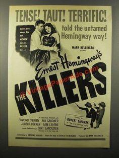 1946 The Killers Movie Ad - Edmond O'Brien, Ava Gardner