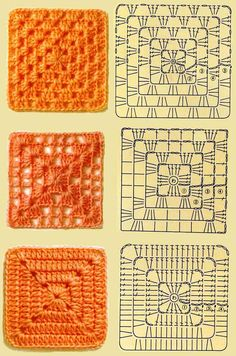 Differents granny squares crochet diagrams..