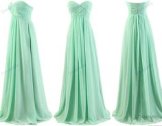 Online Shop Mint Bridesmaid Dresses A Line Sweetheart Pleated Chiffon Long Bridesmaid Dress 2016 Floor Length Mint Homecoming Dresses, Bridesmaid Dresses 2014, Bridesmaids, Prom Gowns, Bridesmaid Ideas, Dress Prom, Green Beach Dresses, Green Dress, White Dress