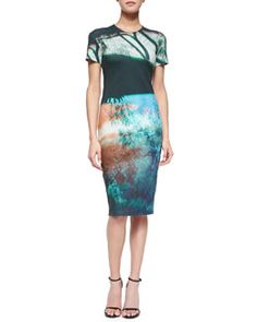 T9H4E McQ Alexander McQueen Abstract Tree-Print Sheath Dress