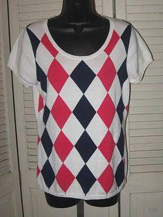 J CREW JCrew Preppy White Argyle Blue Pink Short Sleeve Cotton Sweater Top M #JCrew #ScoopNeck