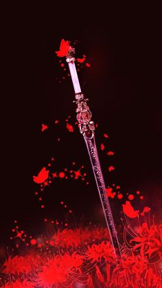 By Artist Unknown. Fantasy Sword, Fantasy Weapons, Fantasy Art, Armes Concept, Red Spider Lily, Cool Swords, Sword Design, Anime Weapons, Weapon Concept Art