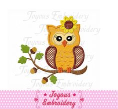 Thanksgiving Fall Girl Owl Applique Machine Embroidery Design