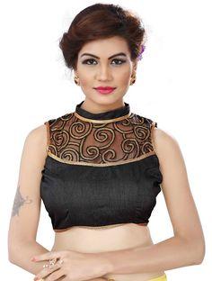 Black cotton and net embroidered blouse fabric - Awesome - 1593192 Netted Blouse Designs, Blouse Designs High Neck, Bridal Blouse Designs, Saree Blouse Designs, Saree Petticoat, Net Blouses, Indian Fashion Designers, Lehenga Designs, Blouse Online