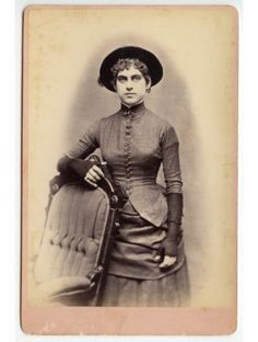 Lady with Great Hat and Fingerless Gloves Vintage Cabinet Photo | eBay