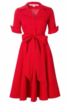 House of Dots - 50s Bloody Mary swing dress in red with pink dots
