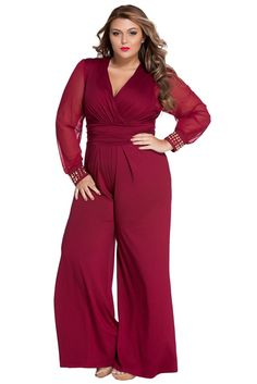 3194adf5d9c1 Combinaisons Femme Soiree Grande Taille Rouge Embelli Maille Longue Manches