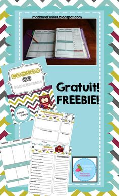 Mme Émilie: Freebie: Cahier de planification Kindergarten Classroom Organization, Classroom Fun, School Organization, Classroom Activities, Classroom Management, Organizing, Teacher Binder, Teacher Planner, French Teacher