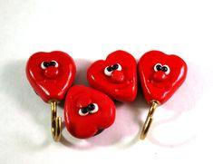 Red Heart Kitchen Magnets, Fridge Magnets, Refrigerator Magnets, Potholder Magnets, Set of 4 Magnets