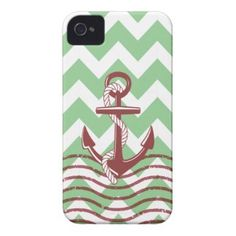 Nautical Ship Anchor Mint Chevron Pattern Case-Mate iPhone 4 Case