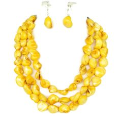 Graduated Yellow Mother of Pearl Nugget Bridesmaid Necklace & Earrings by WildflowersAndGrace, $49.00