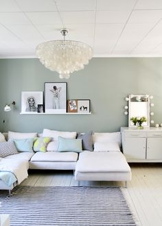 Livingroom with mint wall and ikea sofa - Decoration For Home Living Room Inspo, Wall Decor Living Room Apartment, Apartment Living Room, Mint Walls, Living Room Wall Color, Living Room Paint, Small Room Design, Ikea Sofa, Sofa Decor