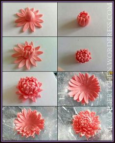 Rose En Fondant, Fondant Flower Cake, Fondant Cake Toppers, Gerbera Cake, Gerbera Flower, Pink Gerbera, Fondant Baby, Fondant Cakes, Sugar Paste Flowers