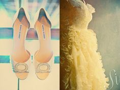 White Manolo Blahnik wedding shoes and frilly wedding dress by Sanderson Images See more:  www.sandersonimages.com/blog
