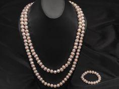 """10-12mm Pink Cultured Freshwater Grande Pearl 60"""" Endless Strand Necklace & 8"""" Stretch Bracelet Set"""