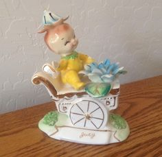VINTAGE Norcrest Birthday ELF / PIXIE sitting on flower cart ~ JULY  Water Lily (09/19/2016)