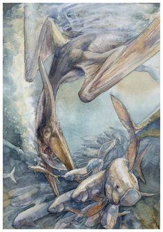 Pteranodon longiceps by Alexander Smentsarev on ArtStation Dinosaur Sketch, Dinosaur Art, Prehistoric Wildlife, Prehistoric Creatures, Reptiles, Cool Dinosaurs, Dinosaur Coloring, Forest Creatures, Jurassic Park World