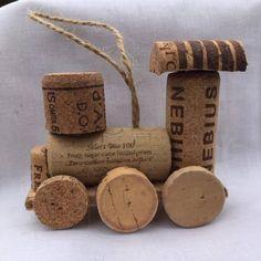 Wine Cork Mini Train Set/Caboose only - Basteln - unique crafts Wine Craft, Wine Cork Crafts, Wine Bottle Crafts, Wine Bottles, Bottle Candles, Wine Corker, Wine Cork Ornaments, Snowman Ornaments, Wine Cork Christmas Trees