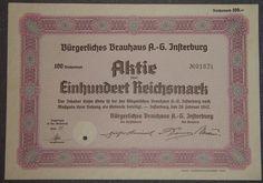 Bürgerliches Brauhaus A.-G. Insterburg 100 RM 1942