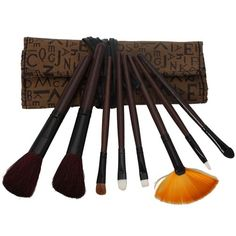 pcs Professional Cosmetic Makeup Brush Set with Letter Bag Brown 21a