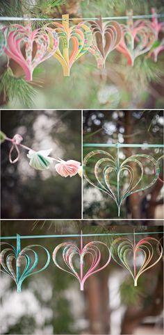 {paper heart hanging garland} M DIY wedding planner with diy wedding ideas and How To info including DIY wedding decor inspiration and tutorials. Everything a DIY bride needs to have a fabulous wedding on a budget! Valentine Decorations, Diy Wedding Decorations, Paper Decorations, Heart Decorations, Paper Garlands, Hanging Garland, Hanging Hearts, Diy Hanging, Diy And Crafts