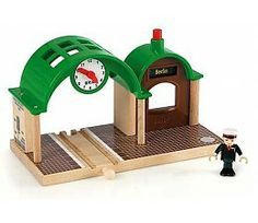 Loving this Wooden Battery-Operated Speaking Train Station on