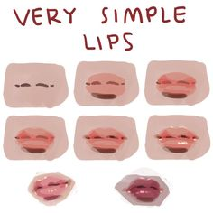 Very simple lips step by step, no frills. (i) make a drawing of a flattened bow (ii) add a blob of base color (iii) add shadow to a blob… Digital Painting Tutorials, Digital Art Tutorial, Art Tutorials, Digital Paintings, Drawing Tutorials, Drawing Techniques, Drawing Tips, Drawing Lessons, Bow Drawing