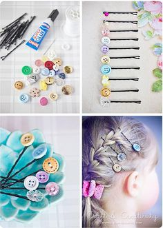Button Hair Pins.