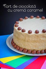 Din bucătăria mea: Tort de ciocolata cu crema caramel Creme Caramel, Tiramisu, Deserts, Food And Drink, Birthday Cake, Candy, Ethnic Recipes, Sweets, Creme Brulee