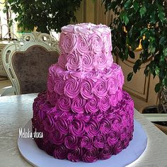 3 Tier Purple Wedding Cake 1m Roses Google Search
