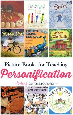 I love how picture books can bring lessons. Here's a fun list of picture books (and free printable worksheets) to use when you teach your kids about personification.   embarkonthejourney.com