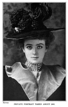 "Another example of Dark eyes: [image: Maude Adams in a big hat, looking directly at the viewer. Caption reads, ""Private portrait taken about 1891.""]"