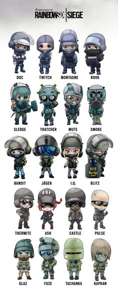 Rainbow Six Siege Operators chibi Rainbow Six Siege Art, Rainbow 6 Seige, Rainbow Six Siege Memes, Tom Clancy's Rainbow Six, Rainbow Six Siege Twitch, Rainbow Art, Video Game Memes, Video Game Art, R6 Wallpaper