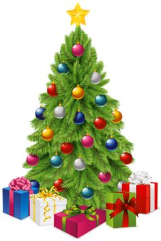 Transparent Christmas Tree with Gift Boxes PNG Picture