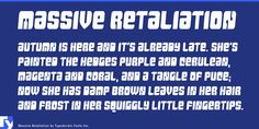Massive Retaliation is a retro and display sans font published by Typodermic Fonts Inc. Web Design, Creative Design, Cool Fonts, Techno, Font Free, Commercial, Typography, Display, Style